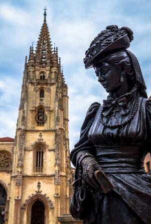 Oviedo Cathedral and Regenta statue in Asturias (Spain).