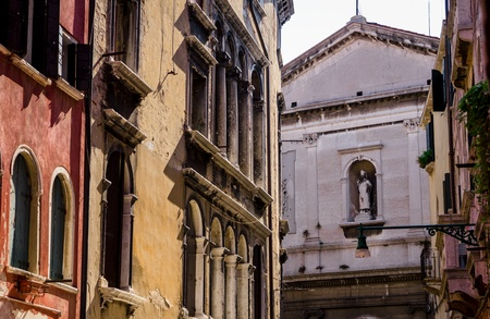 San Silvestro Church at the end of the street in Venice, Italy.
