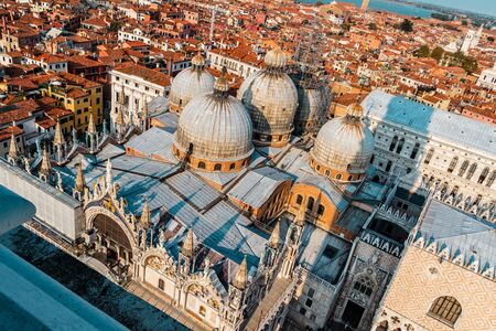 View of San Marco church from the height in Venice, Italy. photo
