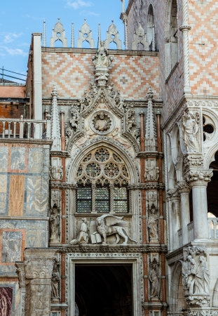 doges  palace: Facade of the Doges Palace beside San Marco church in Venice. Stock Photo