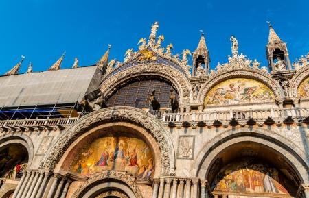 Detail of San Marco church front facade in Venice. photo
