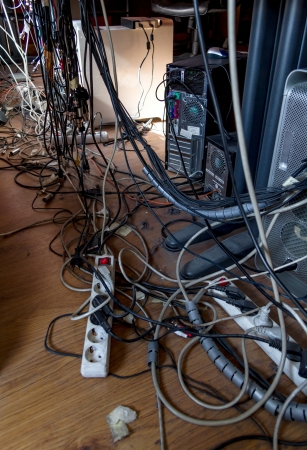 office chaos: Cables and dust in the dirtiest office in the world.
