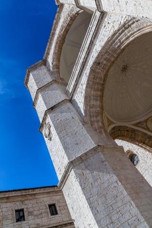 Impressive column of San Benito church in Valladolid. photo
