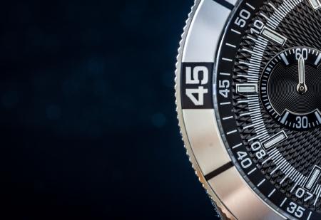 cronógrafo: Acero detalle del reloj, el concepto de tiempo de enfoque selectivo, profundidad de campo
