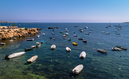 Lots of empty boats parked in St Paul's Bay in Malta