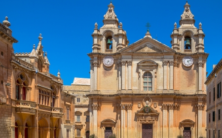 St Paul's cathedral in the st paul's square in Mdina, Malta