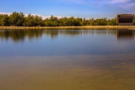 silken: Silken water shot in the lake of Villafafila  Stock Photo