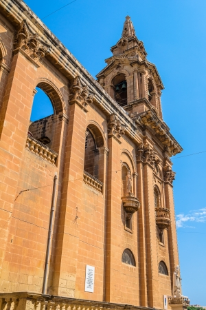 Side view of St Publius church in Floriana, Malta  Stock Photo