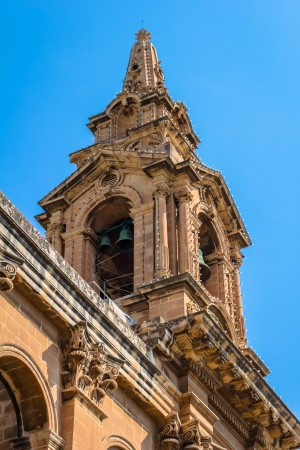 Rear view of the tower of St Publius church in Floriana, Malta