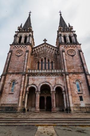 covadonga: Facade of Santa Maria la Real basilica in Covadonga, Asturias