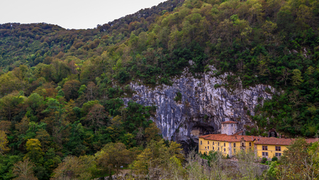 covadonga: Saint Peter monastery and holy cave surrounded by mountains in Covadonga, Asturias