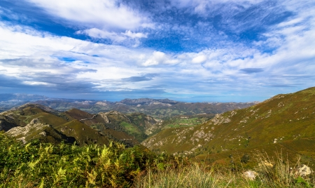 Picos de Europa range of Mountains from a viewpoint in Asturias  photo