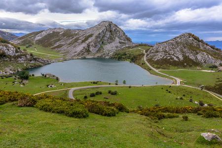 Enol lake from the Picota of Enol in Asturias, Spain  Stock Photo