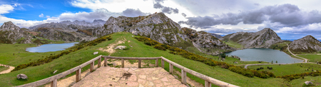Covadonga lakes, Enol and Ercina surrounded by Picos de Europa in Asturias, Spain