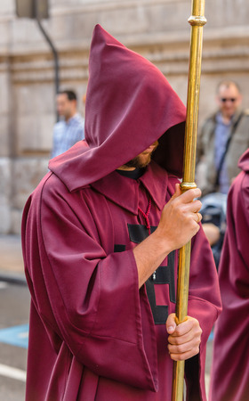 holy thursday: VALLADOLID, SPAIN � APRIL 17, 2014  Participant in the religious processions during Holy Week on Good Thursday, on April 17, 2014 in Valladolid, Spain