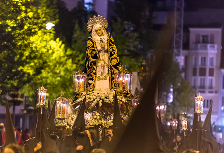 holy thursday: VALLADOLID, SPAIN � APRIL 17, 2014  Virgin sculpture in the religious processions during Holy Week on Good Thursday Night, on April 17, 2014 in Valladolid, Spain