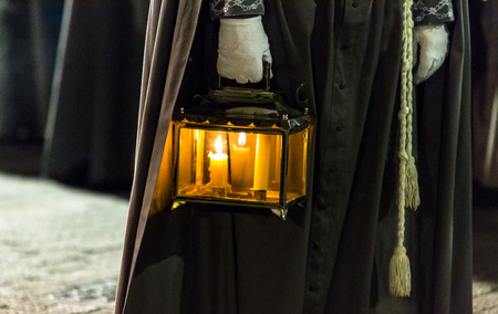 holy thursday: VALLADOLID, SPAIN – APRIL 17, 2014  Antique lamp in the religious processions during Holy Week on Good Thursday Night, on April 17, 2014 in Valladolid, Spain
