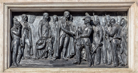 Engraved in the monument of king Pedro IV on the Liberdade square in Porto, Portugal. photo