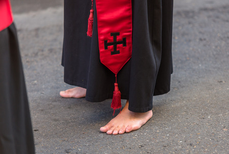 holy thursday: Nazareno barefoot during the Good Thursday during Holy Week in Valladolid.