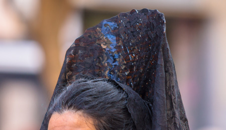 penitence: Women with a comb in the Good Thursday during Holy Week in Valladolid. Stock Photo