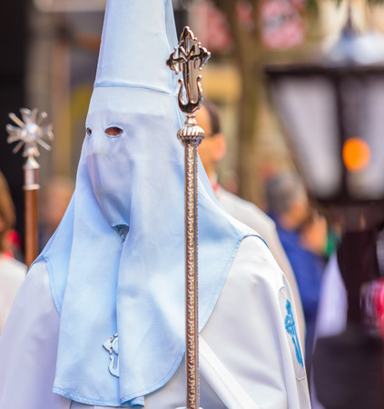 holy thursday: White and blue Nazareno in the Good Thursday during Holy Week in Valladolid.