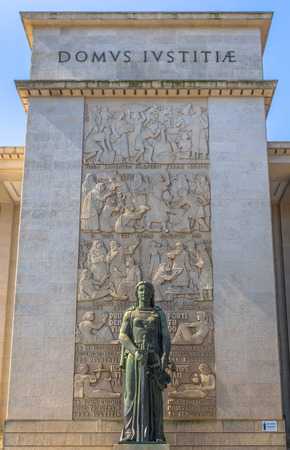 law of portugal: Statue at the entrance of the court of Porto. Editorial