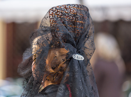 penitence: Typical woman comb of the Holy Week in Valladolid.