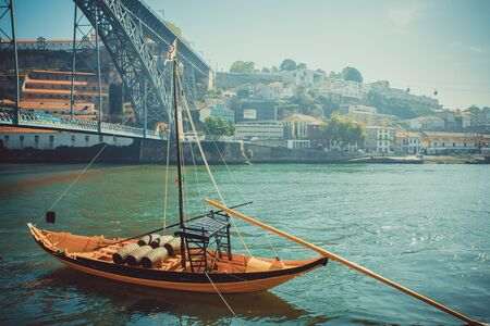 rabelo: Rabelo boat, traditional port wine transport on Douro river. Stock Photo