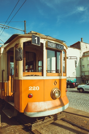 Old fashion trolley in downtown Porto.