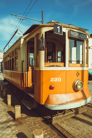 The old Porto streetcar in the street. Editorial