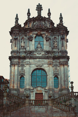 Dramatic look of the Clerigos church in Porto.