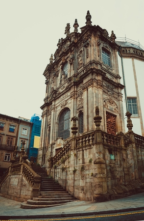 Side View of the Clerigos church in Porto.