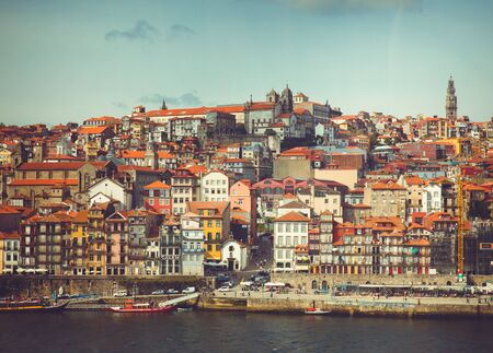 Colorful Porto cityscape from Douro River.