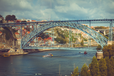 View of the bridge Luis I in Porto.