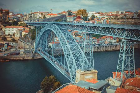 The bridge Luis I in Porto with selective focus. Stock Photo