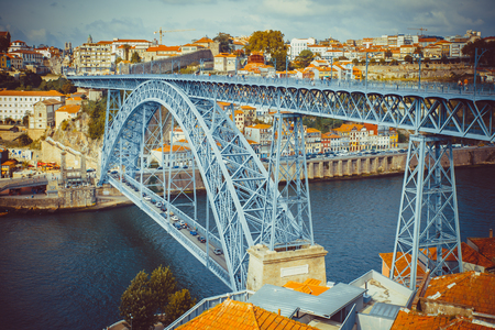 The bridge Luis I over the Douro river in Porto. Stock Photo