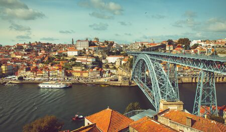 Riverbank of the Douro river through Porto.