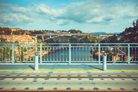 View of a Porto bridge from Luis I bridge.