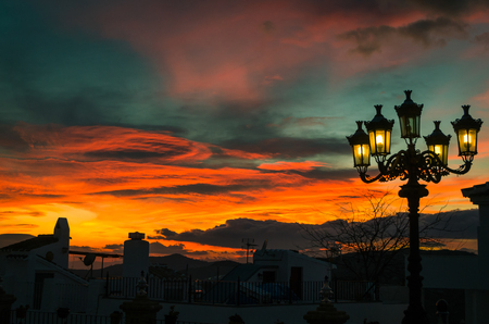 fire in the sky, a fiery sunset in andalusia Stockfoto