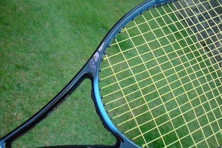 nylon string: Tennis racket Stock Photo