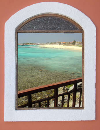 Wonderful sight from the window, viewing a beach in Cape Verde  photo