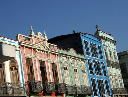 live work city: Colored historical houses in Downtown, Rio de Janeiro