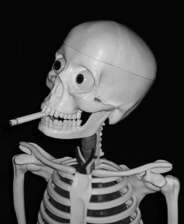 A smoking skull showing the cigarette effects on healthA smoking skull showing the cigarette effects on healthA smoking skull showing the cigarette effects on health photo