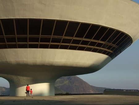 art museum: Oscar Niemeyer's Niter�i Museo d'Arte Contemporanea, a Rio de Janeiro, Brasile  Archivio Fotografico