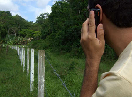 mobilephones: Using a mobile phone in the forest