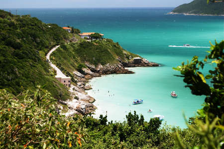brazil beach: Boats over a crystalline turquoise sea in Arraial do Cabo, Rio de janeiro, Brazil