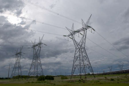 Electrical tower in the biggest hydroelectric plant of the world photo