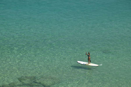 crystalline: Stand-up paddle in a crystalline sea beach in Fernando de Noronha,Brazil