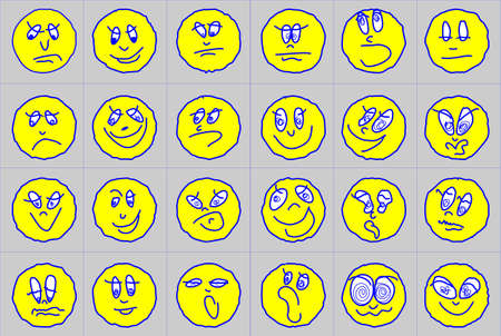 24 emoticons, drawn with a few strokes and expressing different emotions - joy, happiness, laughter, sadness, anger, fatigue, surprise and more.