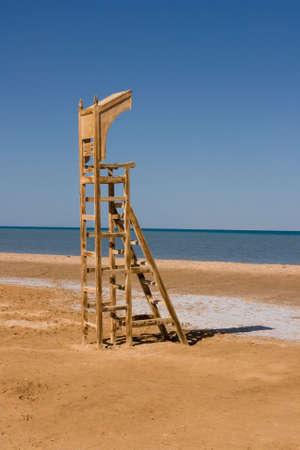 baywatch: Empty baywatch seat on the beach. (lifeguard chair) Stock Photo